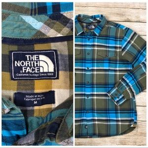⬇️40 North Face Blue Green Plaid Long Sleeve Shirt